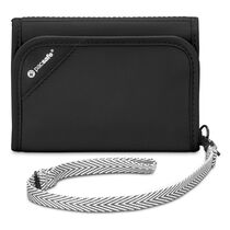 RFIDsafe V125 anti-theft RFID blocking tri-fold wallet, Black